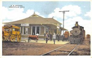 Greenville MI Wagons P. M. Railroad Station Train Depot Postcard
