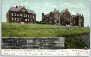 Allegheny, PA Postcard WESTERN UNIVERSITY (Univ. of Pittsburgh) 1908 Cancel