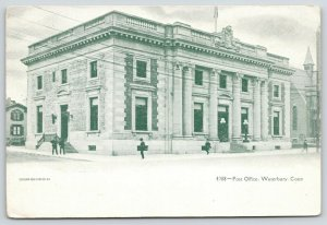 Waterbury Connecticut~Men Hang Around Old Beaux Arts Post Office~1910 Green Tint