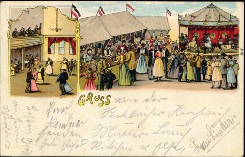 Carnival Funfair Kermis, Dancing, Merry-go-Round (1906)