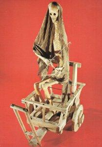 Death Cart Grim Reaper Antique Mexican Art Wooden Model Postcard