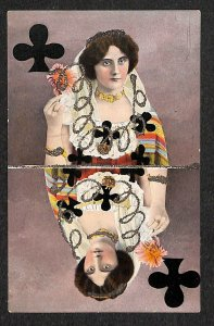 Queen of Clubs Playing Card Postcard