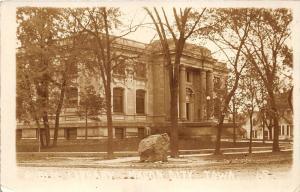 Mason City Iowa~Public Carnegie Library~Large Rock @ Street Corner~1912 RPPC