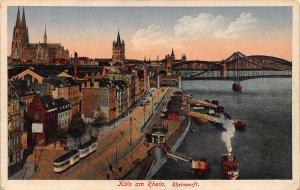 Koln am Rhein Rheinwerft Bridge River Boats Postcard
