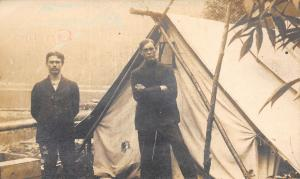 Real Photo Postcard~Wigwam in Which Lyle & I Lead Simple Life~2 Guys~Tent~c1908
