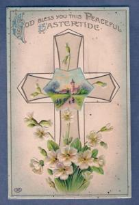 Easter Greetings - Religius - Cross & Church - Writing On Back - Not Posted