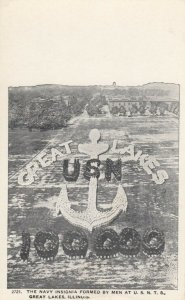 GREAT LAKES , Illinois, 1910s; The Navy Insignia Formed by Men at U.S.N.T.S.