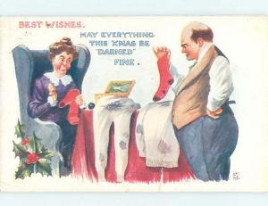 Edge Tear 1914 christmas signed HUSBAND FRUSTRATED HIS WIFE MENDS CLOTHES hk9685