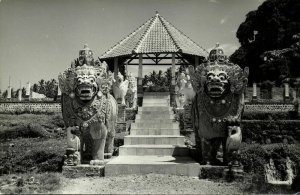 indonesia, BALI, Barong Lion Guards (1950s) RPPC Postcard
