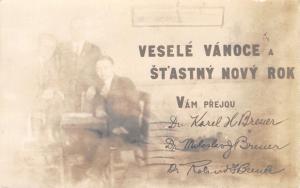 Lincoln NE~Czech Doctors Wish Merry Christmas~Karel Miloslav Breuer~1920 RPPC