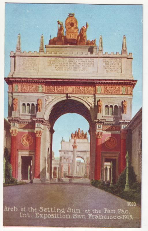 P362 JL, 1915 postcard panama pacific expo san fran calif arch of sun