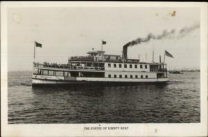 New York City State of Liberty Steamer Boat w/ SOL Cancel Real Photo Postcard