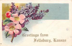 Fellsbury Kansas~Wild Roses & Lilacs Bouquet Greetings~Embossed~1909 Postcard