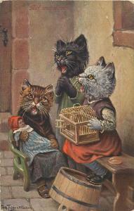 Arthur THIELE signed ( catalog value ) humanized anthropomorphic cats doll cage