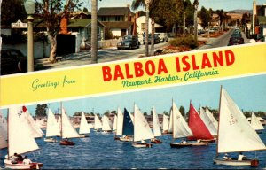 California Greetings From Balboa Island Showing Park Avenue and Newport Harbo...