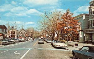 Ridgefield Connecticut~Main Street~Storefronts~People Xing St~70s Cars~Postcard