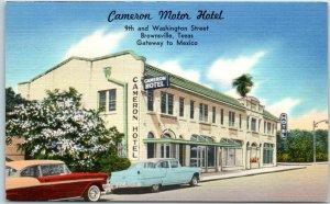 Brownsville, Texas Postcard CAMERON MOTOR HOTEL 9th & Washington Street Linen
