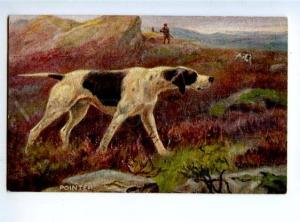 156522 HUNT Dogs POINTER Hunter by DRUMMOND Vintage TUCK PC