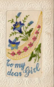 Hand Sewn, 1900-10s; To my dear Girl, Blue & Pink Flowers
