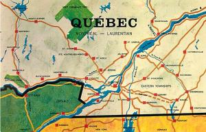 Montreal - Laurentian Quebec Canada Map Postcard