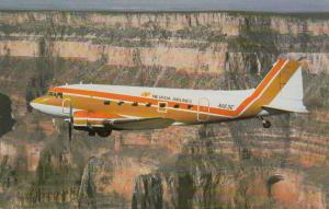 NEVADA Airlines DC-3 Airplane over Grand Canyon , Arizona , 1970s