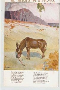 J.M.Segrelles. El Burrp Flñautista. The Piper Donkey Nice Vintage Spanish PC