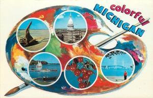 Michigan~Artists Palette~State Capitol~Cherries~Sailing~Mackinac Bridge~1960s