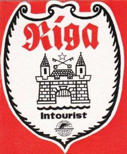 Russia Riga Intourist Hotel Vintage Luggage Label sk1517