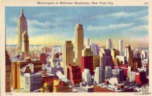 NEW YORK CITY, NY SKYSCRAPERS MID-TOWN MANHATTAN EWING GALLOWAY PHOTO