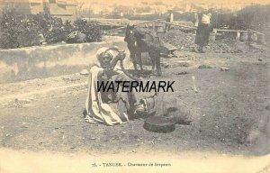 TANGER MOROCCO AFRICA~CHARMEUR de SERPENTS-SNAKE CHARMER~1910s PHOTO POSTCARD