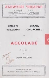 Accolade Diana Churchill Drama Aldwych Old London Theatre Programme
