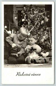 Christmas in Czechoslavkia~Children Under Decorated Tree~Wooden Toys~1959 RPPC