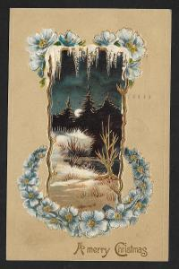 A Merry Christmas Violets Snow & Night View Used c1908