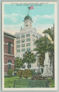 Tampa Florida~City Hall & Court House Park~Civil War Soldiers Monument~1920s