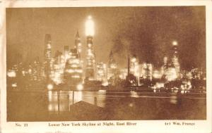 New York City~Lower End Skyline Night Lights~East River~Wm Frange 1930s RPPC