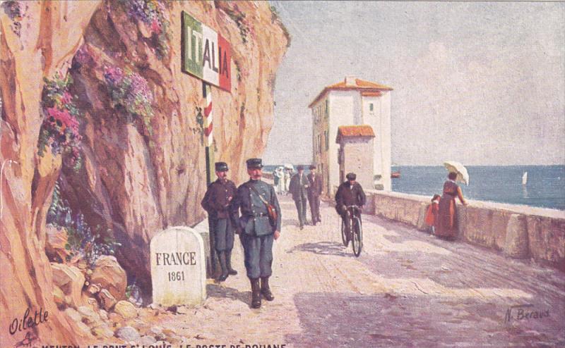 TUCK 18 ; MENTON. Le Pont S: Louis. Le Poste de Douane