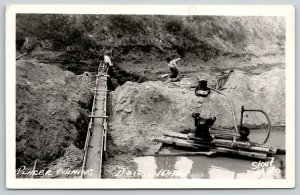 Dixie Idaho~Placer Mining~Miners Use Suction Dredges~Stream Bed Chute~1950s RPPC