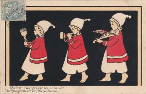 TUCK # 528; FRANCE, 1900-10s; Three children playing instruments