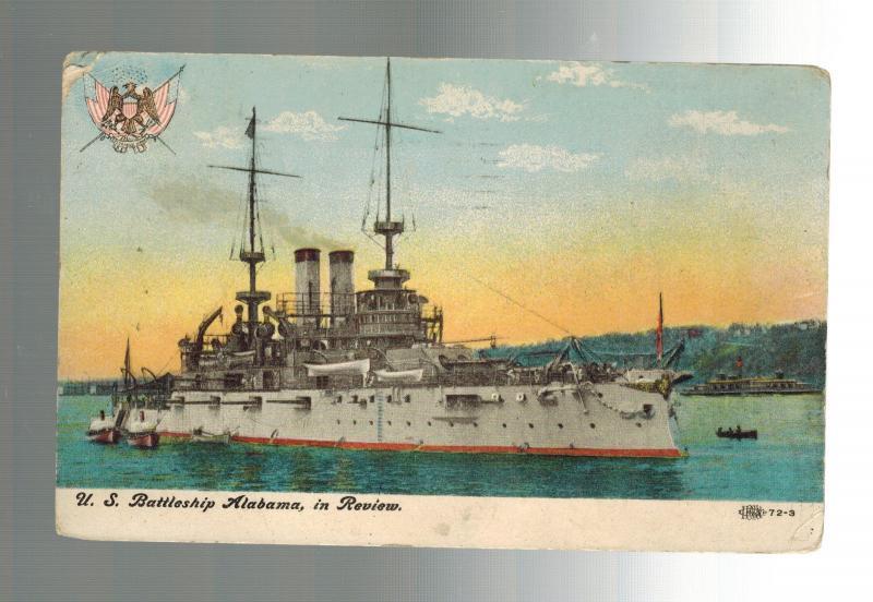 1907 usa picture postcard us navy uss alabama battleship in review san  francisco / hippostcard