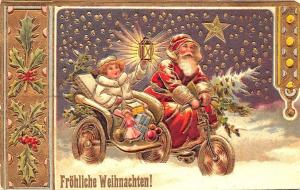 Christmas Santa Claus Motorcycle Sidecar Embossed Russian Postcard
