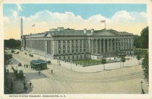U S Treasury Building Washington DC, Trolleys, Horse Carriage Vintage Postcard
