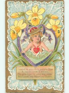 Pre-Linen valentine CUPID WEARING CROWN BURSTS THROUGH HEART & DAFFODILS W7302