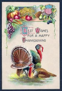 Happy Thanksgiving Turkey & Food unused c1910's
