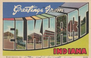 Large Letter ELKHART Indiana, 1930-40s