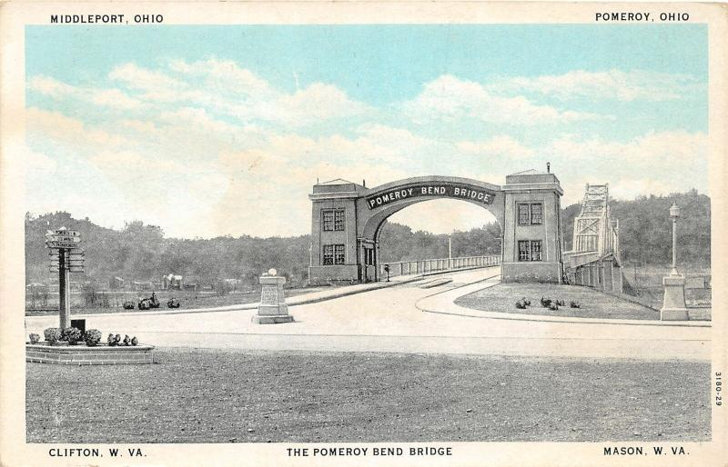 F28/ Pomeroy Ohio Postcard c1920 Bend Bridge Middleport River