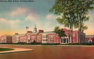 Portland, Maine, ME, Deering High School, Linen Antique Vintage Postcard g2161
