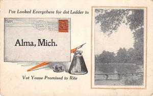 Alma MI Looked Everywhere For That Letter You Promised~Pine River Scene c1912