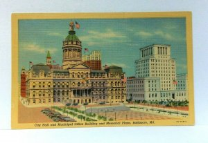 Baltimore Maryland City Hall & Municipal Office Building Linen Vintage Postcard