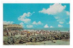 Ocean City NJ 9th Street Beach Rock Jetty Music Pier Vintage New Jersey Postcard