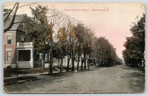 Greenville Ohio~East Fourth Street Homes~Name on Porch~Dirt Road~1908 Postcard